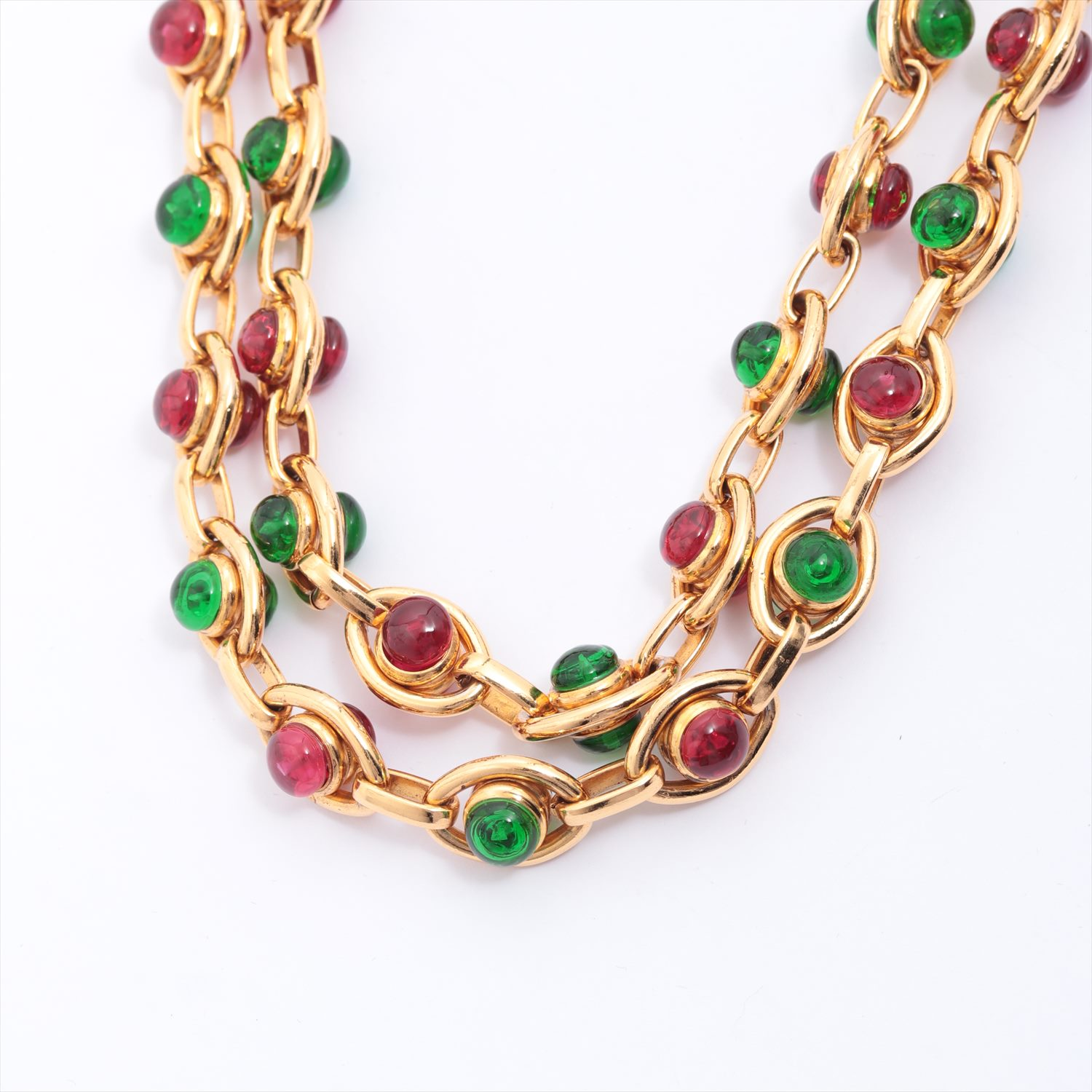 [Used goods] Chanel necklace brass gold Guripoa green red