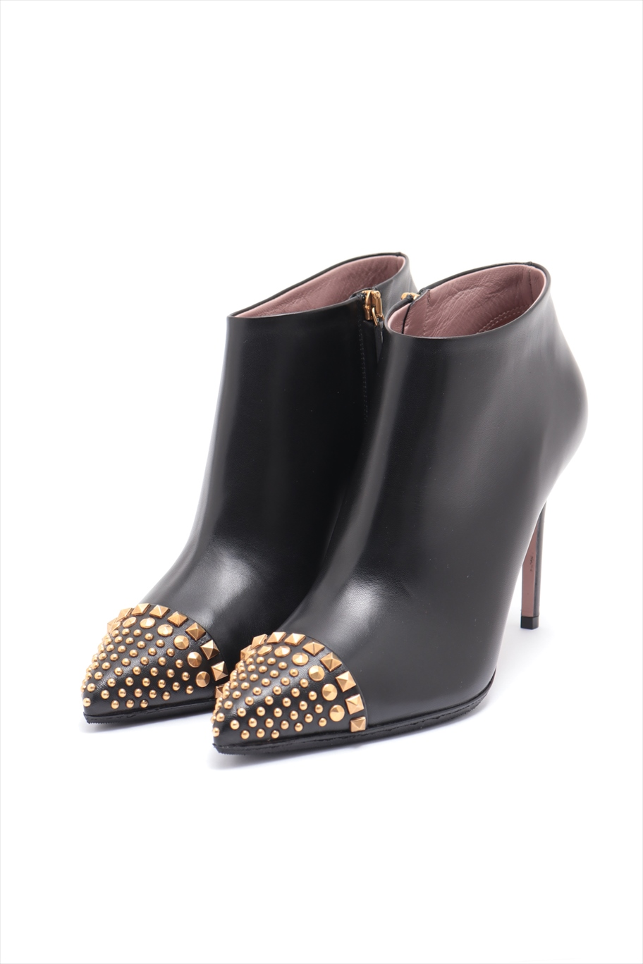 [Used goods] Gucci leather boots 39 Women's black ankle boots Studded Pointed Toe with box
