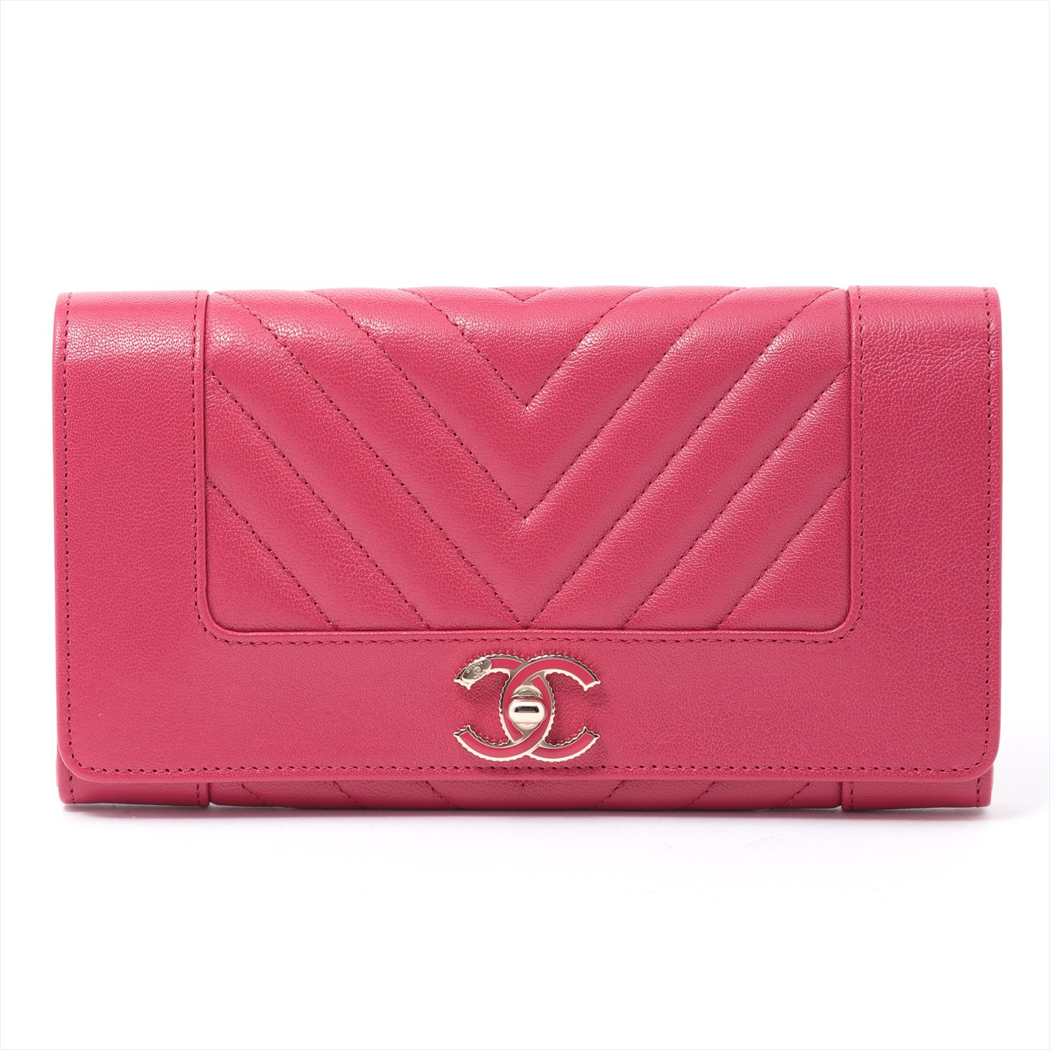 [Used goods] Chanel Mademoiselle vintage leather wallet Long bi-fold pink gold fittings with A80971 boxes
