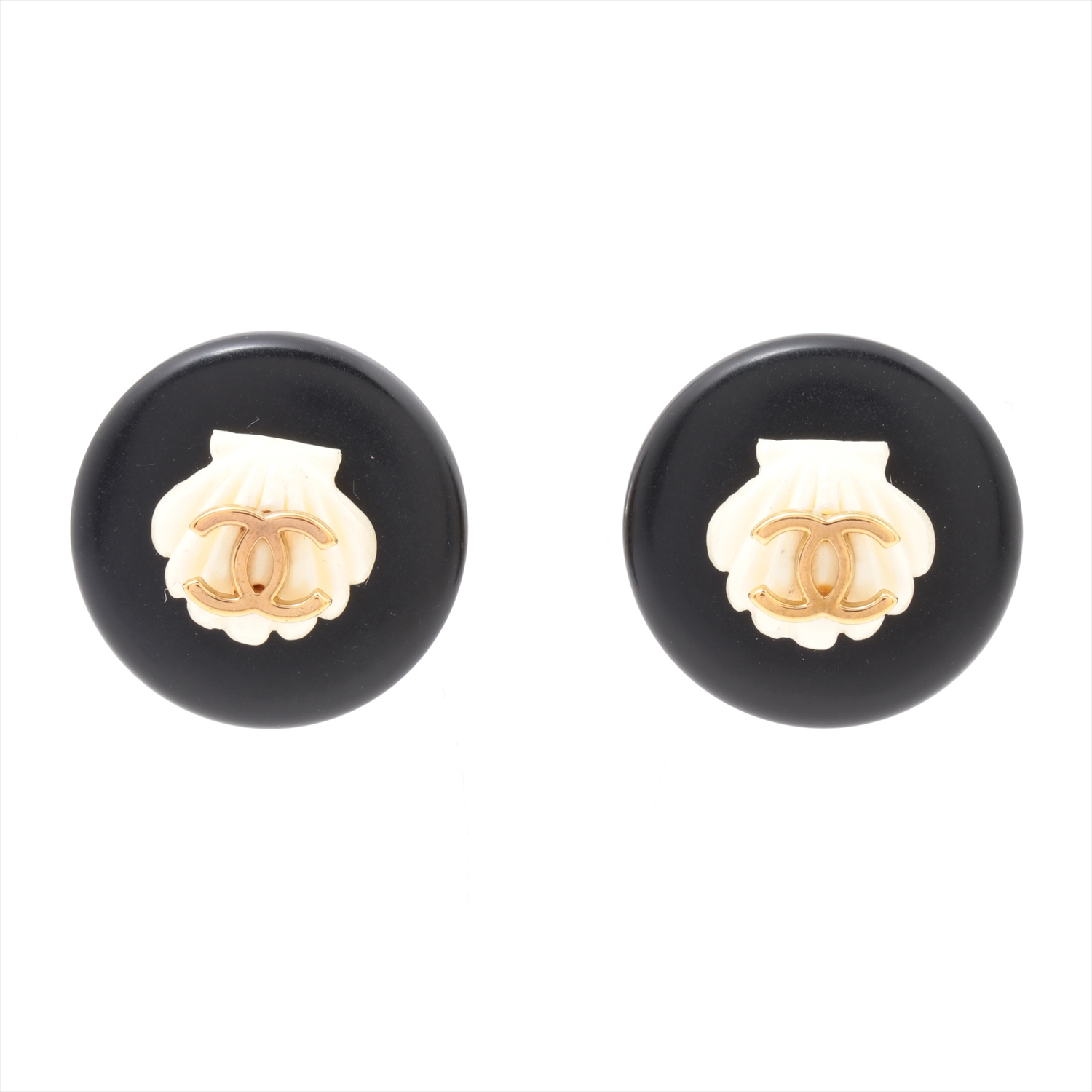 [Used goods] Chanel Coco mark earrings (for both ears) plastic black shell 96C