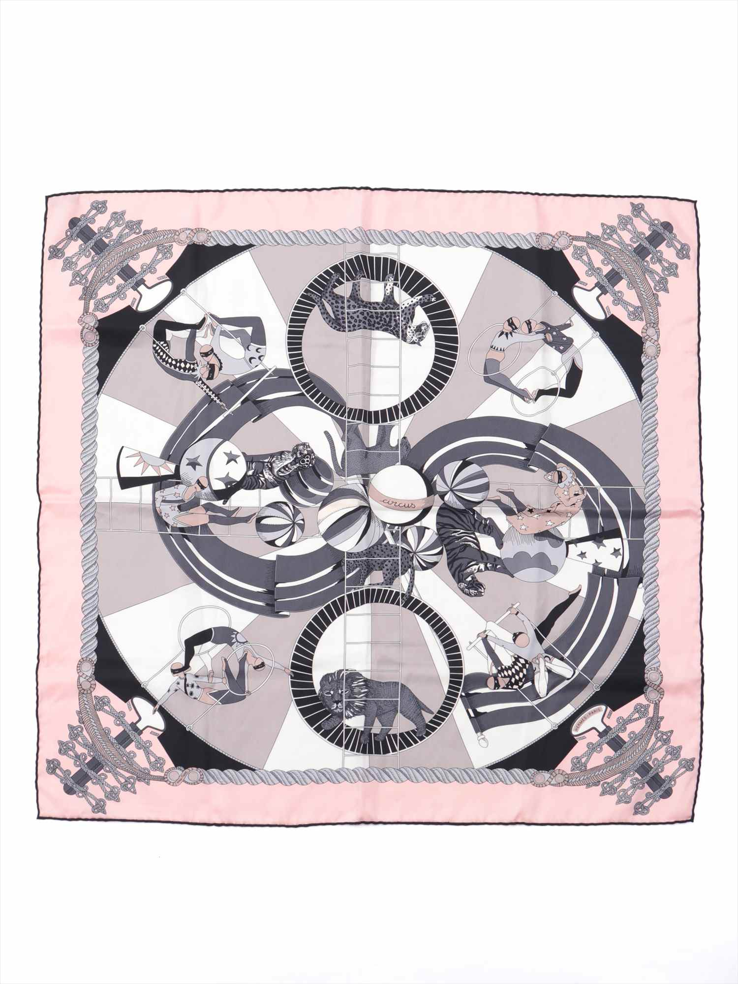 [Used goods] Hermes Carre 70 scarf silk pink CIRCUS (circus)
