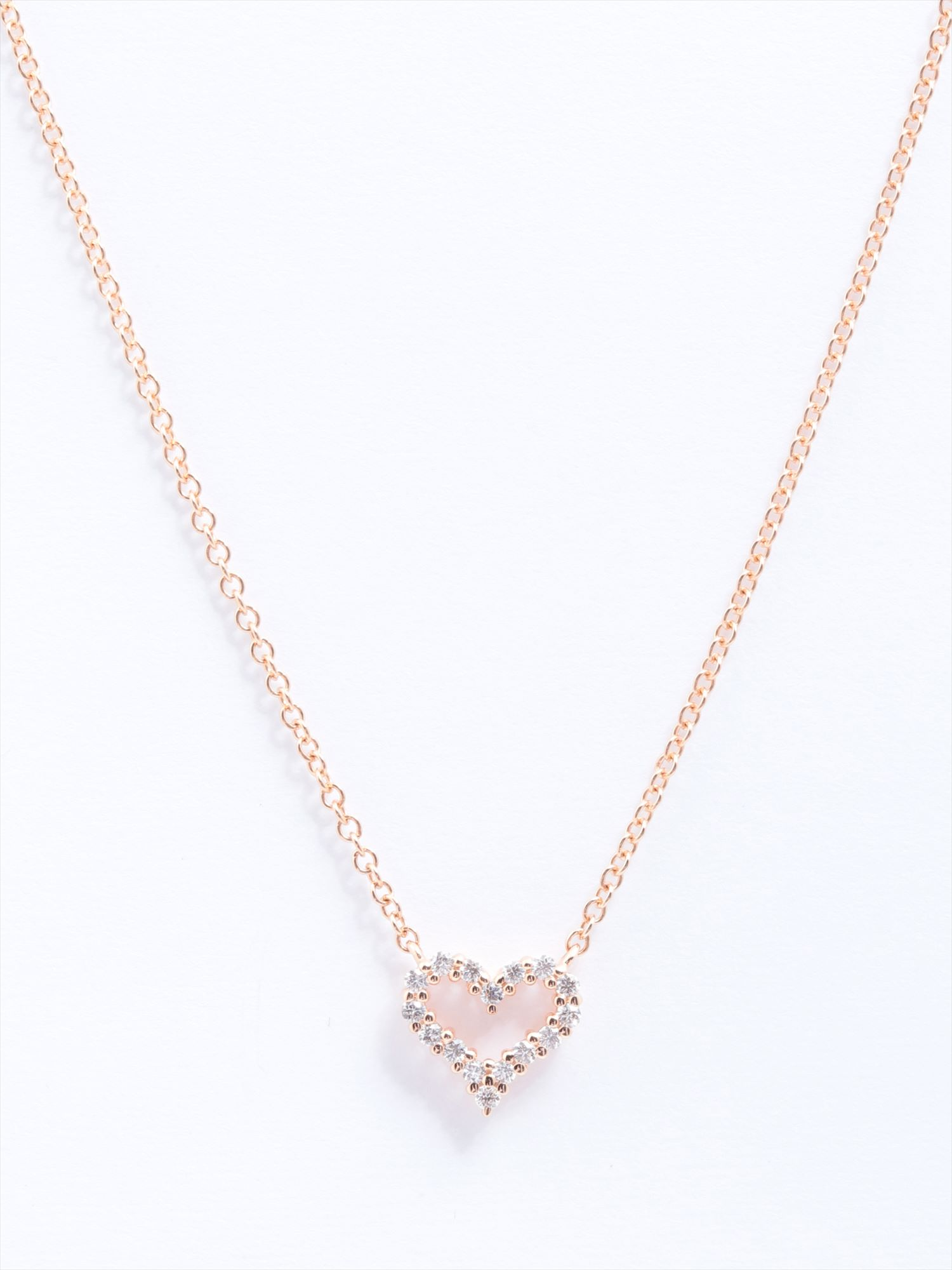 [Used article] Tiffany sentimental heart diamond necklace 750 1.8g pink gold