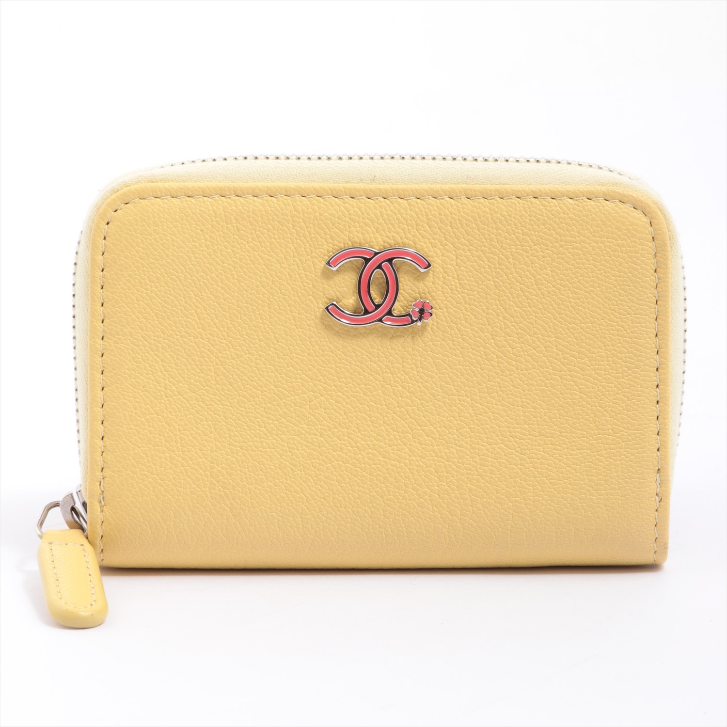 [Used goods] Chanel Coco mark lambskin coin yellow Silver hardware A84199 Lucky Clover