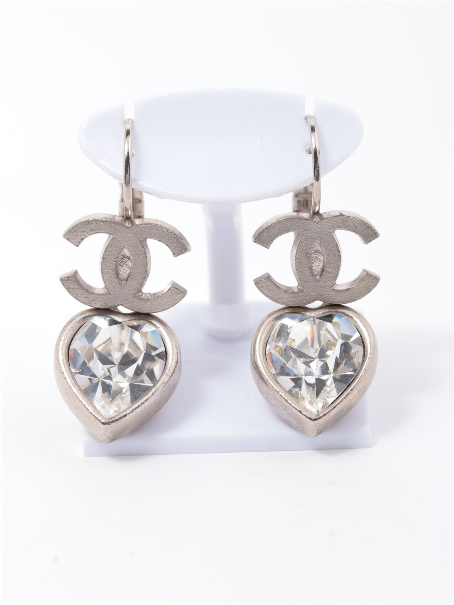 [Used goods] Chanel Coco mark earrings (for both ears) brass silver heart Bijou 04A