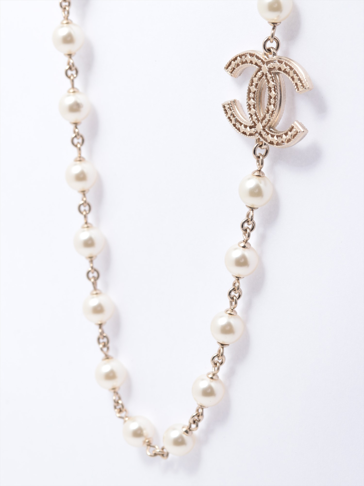 [Used goods] Chanel Coco mark necklace GP Gold fake pearl A15V