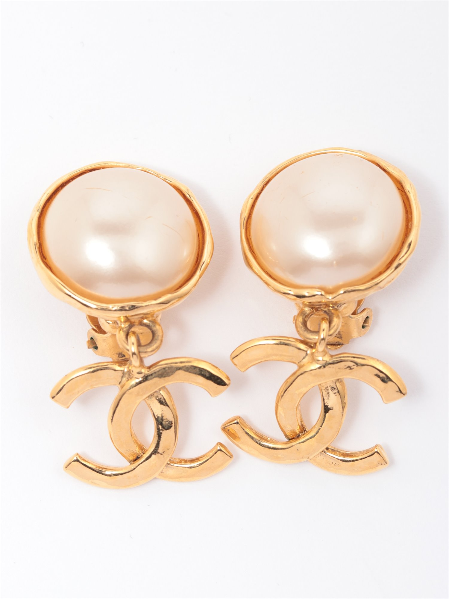 [Used goods] Chanel Coco mark earrings (for both ears) GP Gold fake pearl 94P
