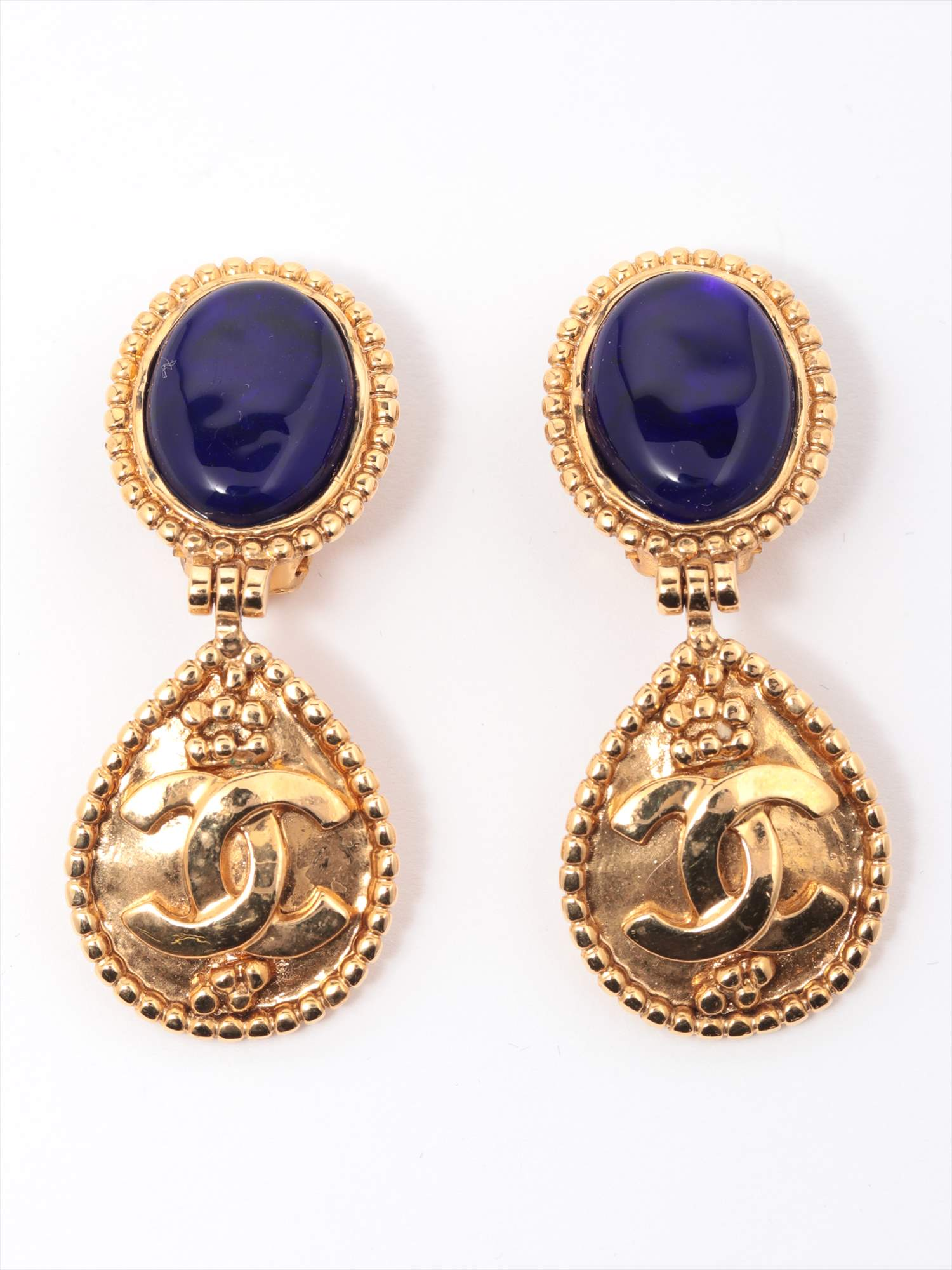 [Used goods] Chanel Coco mark earrings (for both ears) GP Blue Blue Stone 95A