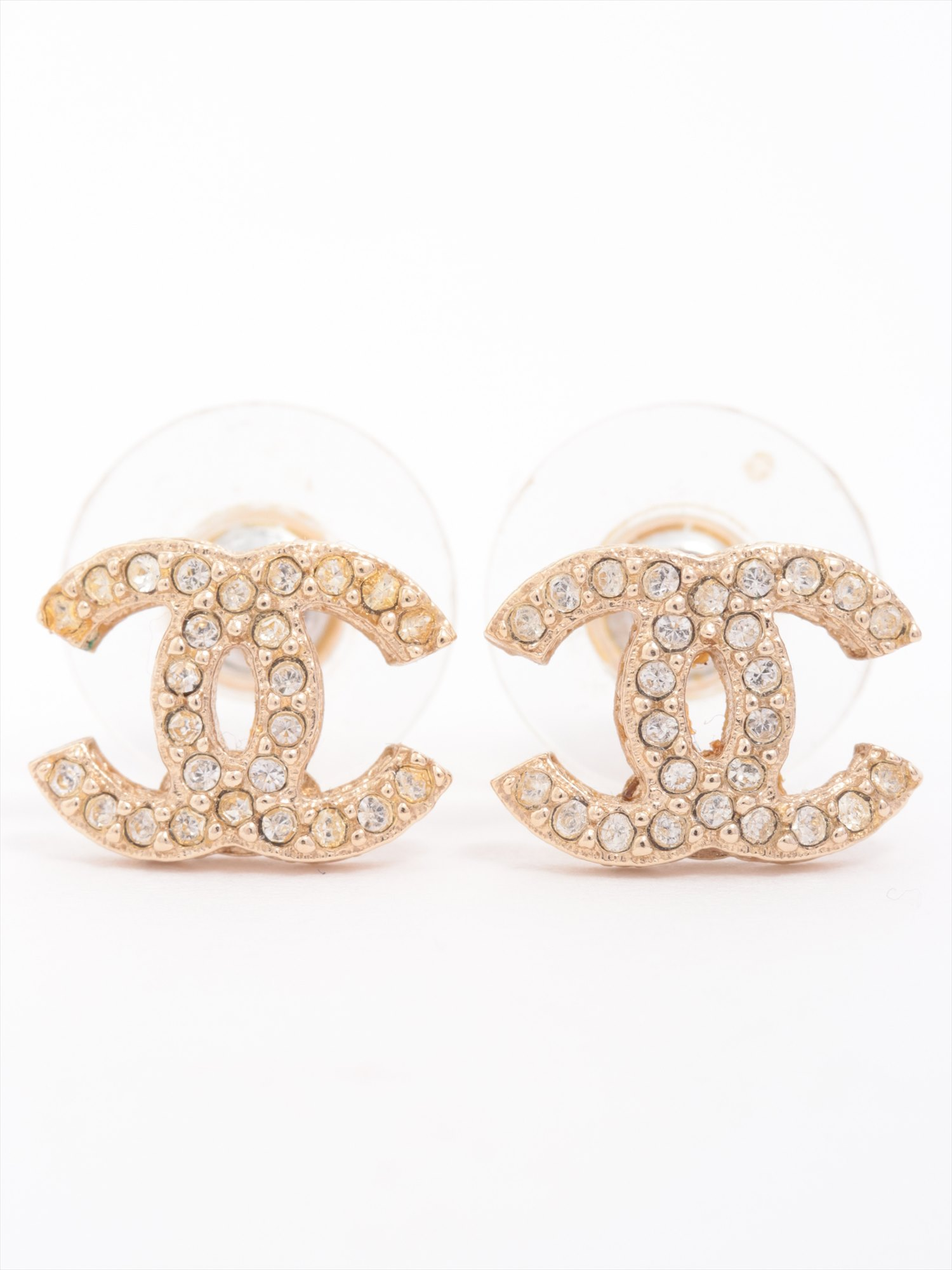 [Used goods] Chanel Coco mark earrings (for both ears) GP Gold rhinestone F16B