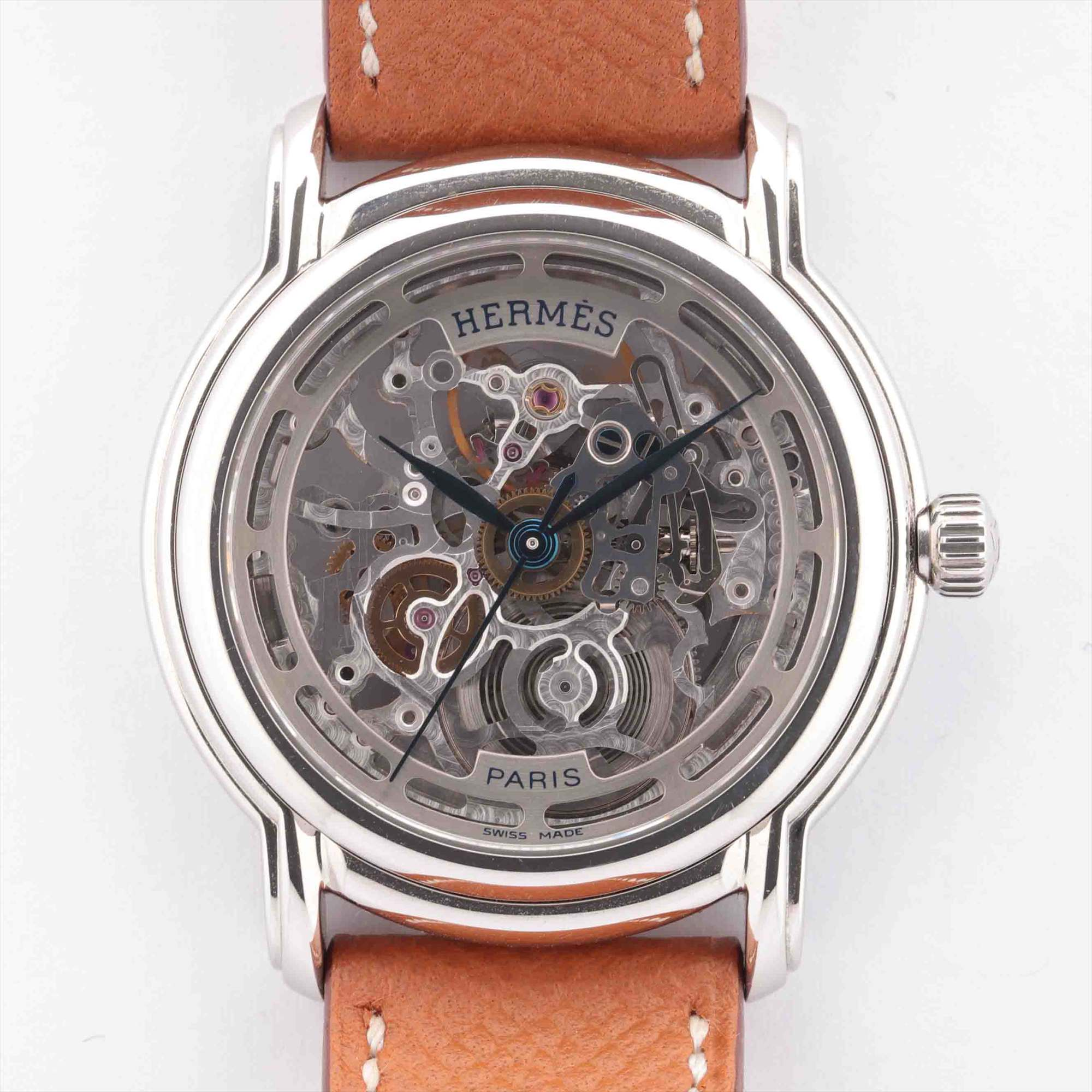 [Used goods] Hermes Sezamu SM1.710 SS × leather AT skeleton dial too Gomanashi