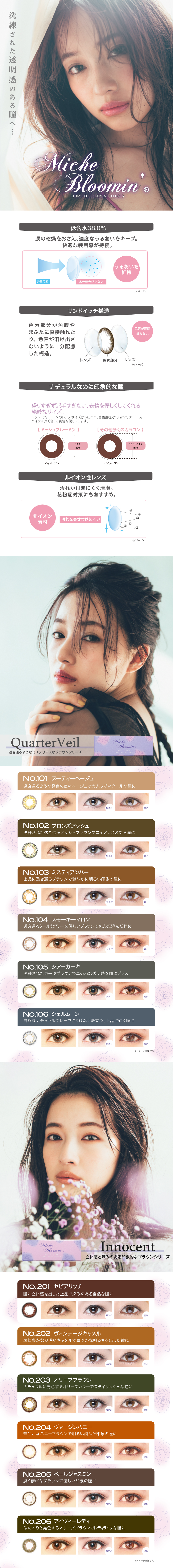 Miche Bloomin' / InnocentSeries 【Color Contacts/1 Day/Prescription, No Prescription/30Lenses】
