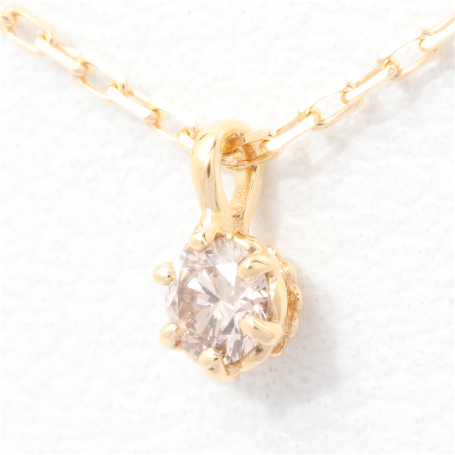 【Pre-Owned】 アガット agete ダイヤモンドネックレス K18YG 0.05ct