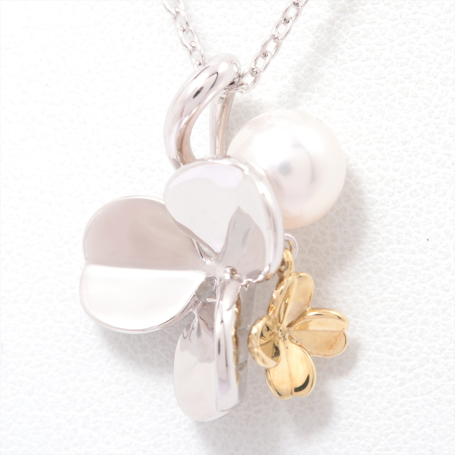 【Pre-Owned】 MIKIMOTO ミキモト Fortune Leaves Collection パールネックレス SV×K18YG